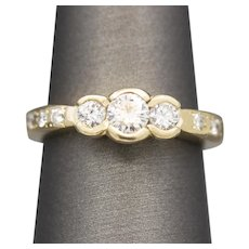 Handcrafted Three Stone Diamond Engagement Ring in 14k Yellow Gold