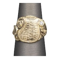 Vintage Serpent Signet Ring with Diamond Accent in 14k Yellow Gold