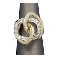 Modernist Abstract Geometric Diamond Cocktail Ring in 14k Yellow and White Gold