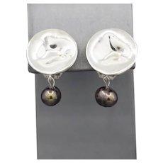 Vintage Carolee Sterling Silver and Black Pearl Clip On Earrings