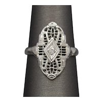 Art Deco Petite Diamond Cocktail Ring in 18k White Gold