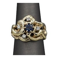 Classic Sapphire and Diamond Free Form Ring in 14k Yellow Gold