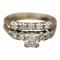 Vintage Diamond Wedding Ring Set in 14k Yellow Gold