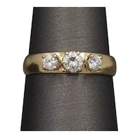Petite Three Stone Diamond Band Ring in 14k Yellow Gold