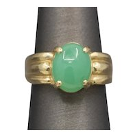Glowing Green Chrysoprase Cabochon Ring in 14k Yellow Gold