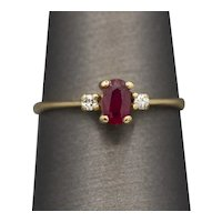 Petite Ruby and Diamond Three Stone Ring in 14k Yellow Gold