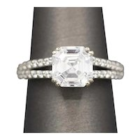 Asscher Cut Cubic Zirconia Engagement Ring in 14k White Gold