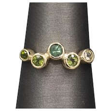 Handcrafted Green Tourmaline Scatter Ring in 18k and 14k Yellow and White Gold