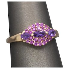 Plush Purple Amethyst and Pink Tourmaline Cluster Ring in 14k Rose Gold