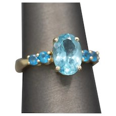 Carribean Blue Apatite Statement Ring in 14k Yellow Gold
