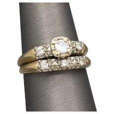 Vintage Two Tone Diamond Bridal Rings in 14k Yellow and White Gold