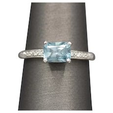Handcrafted Blue Zircon and Diamond East West Ring in 14k White Gold