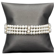 Classic Triple Row Pearl and Diamond Bracelet in 14k Yellow Gold