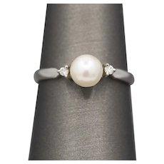 Petite Pearl and Diamond Ring in 14k White Gold