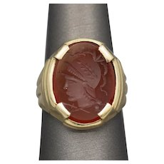 Men's Vintage Hand Carved Intaglio of Soldier Ring in Carnelian and 10k Yellow Gold