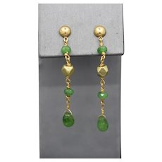 Long Faceted Emerald Bead Earrings in 18k Yellow Gold