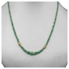 Handcrafted Faceted Emerald Bead and 18k Necklace 15""