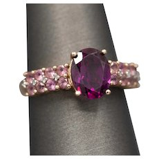 Rhodolite Garnet and Pink Tourmaline Cocktail Ring with Diamond Accents in 10k Rose Gold