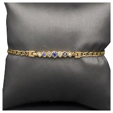 Blue Sapphire and Diamond Station Bracelet in 14k Yellow Gold Size Small