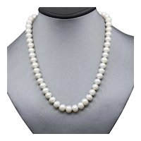"""9.5mm Freshwater Pearl Rondel Shape Necklace with White Gold 18k Clasp 16.5"""""""