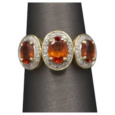 Cheery Mexican Fire Opal and Diamond Three Stone Ring in 10k Yellow Gold