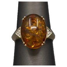 Glowing Amber and Diamond Accent Ring in 10k Yellow Gold