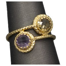 Citrine and Amethyst Stackable Wrap Ring in 14k Yellow Gold