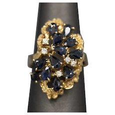 Bold Blue Sapphire and Diamond Cocktail Ring in 14k Yellow Gold