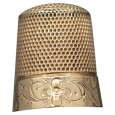 Vintage Engraved Thimble in 14k Yellow Gold