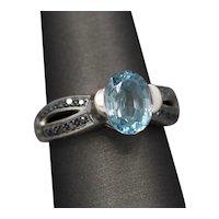 Blue Topaz and Blue Diamond Ring in 14k White Gold