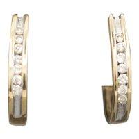 Sparkling Petite Oval Diamond Hoop Earrings in 14k Yellow Gold