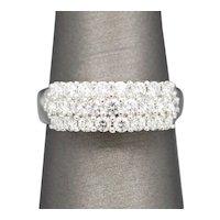 Pave' Three Row Diamond Ring in 14k White Gold