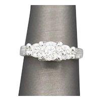 Beautiful Three Stone Diamond Engagement Wedding Ring in 14k White Gold 1.78ctw