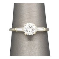Classic Three Stone Diamond Engagement Ring with Round and Baguette Diamonds in 14k White Gold