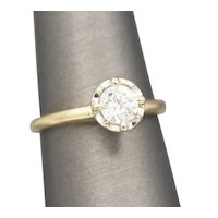 Vintage Feminine Round Brilliant Cut Diamond Solitaire Engagement Ring with Illusion Head in 14k Yellow Gold