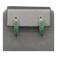 Gorgeous Green Columbian Emerald Pave' Oval Hoop Earrings in 18k White Gold