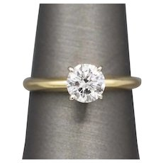 GIA Certified 1.01ct G SI2 Diamond Solitaire Engagement Ring in White and Yellow Gold