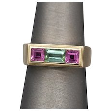 Pink and Green Tourmaline Band Ring in 14k Yellow Gold