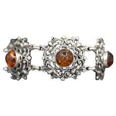 Glowing Amber Bezel Set Filigree Statement Bracelet in Silver