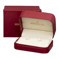 Mikimoto 6mm to 6.5mm Round Akoya Pearl Stud Earrings in 18k Yellow Gold with Case and Box