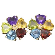Rainbow Colored Gemstone Floral Earrings with Diamond Accent in 14k Yellow Gold