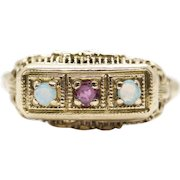 Victorian Ruby and Opal Filigree Ring in 14k Yellow Gold