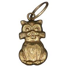 Vintage Engraved Kitty Cat Feline Pendant Charm in 14k Yellow Gold