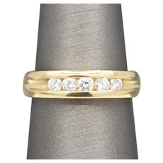 Classic Channel Set Diamond Five Stone Band Ring in 14k Yellow Gold