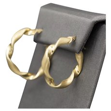 """Sophisticated 1 1/8"""" Twist Hoop Earrings with Satin and High Polished Finish in 14k Yellow Gold"""