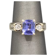 Gorgeous Cushion Cut Tanzanite and Old European Cut Diamond Ring with Euro Shank in 14k Yellow Gold