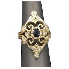 Bold and Elegant Blue Sapphire and Diamond Cocktail Ring in 14k Yellow Gold