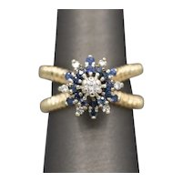 Sparkling Blue Sapphire and Diamond Cluster Cocktail Ring on a Twisted Split Shank in 14k Yellow Gold