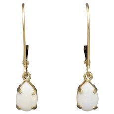 Romantic Pear Shaped Opal Drop Dangle Leverback Earrings in 14k Yellow Gold