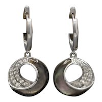 Frederic Sage Venus Crescent Black Mother of Pearl and Pave' Diamond Earrings in 14k White Gold